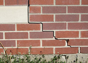 a foundation wall crack on a Stuarts Draft home.