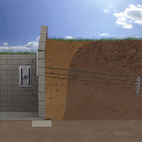 diagram of a foundation wall anchor system repairing a cracked wall