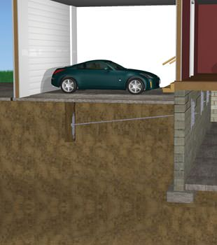 Graphic depiction of a street creep repair in a Warrenton home