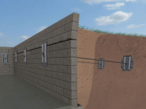 A graphic illustration of a foundation wall system installed in Bassett
